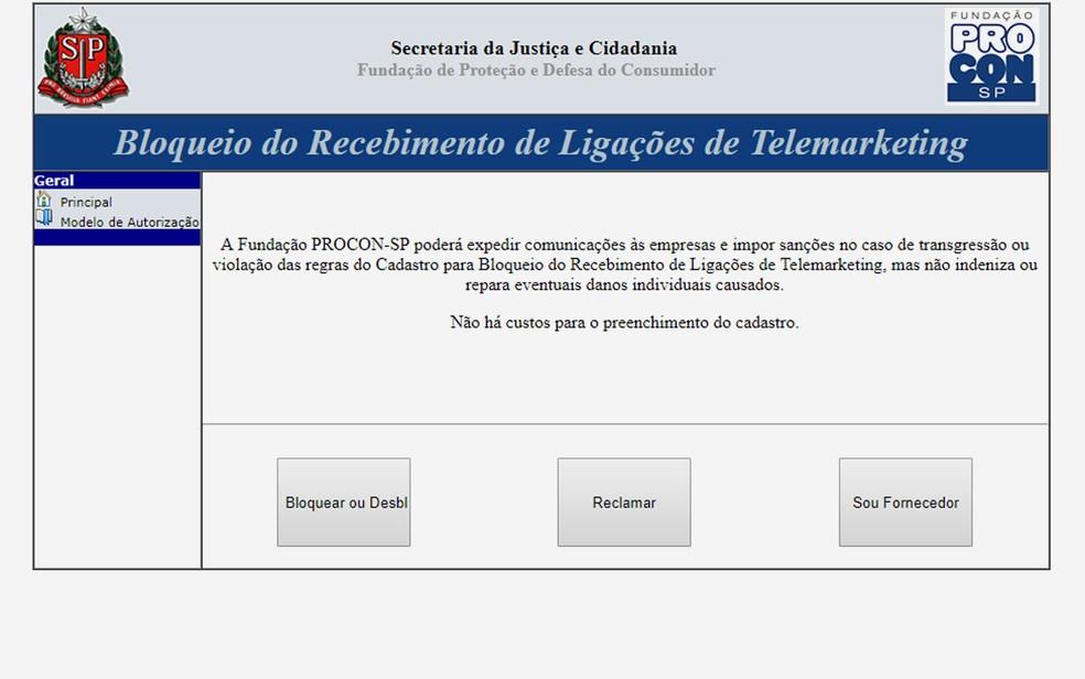 Página do Procon-SP indica como cadastrar número de telefone para não receber chamadas de telemarketing. — Foto: Reprodução/Procon-SP
