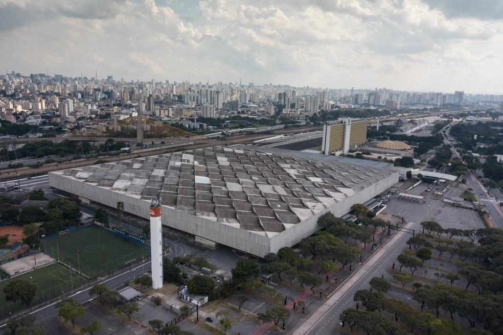 Vista aérea do Complexo Anhembi, que abriga um hospital de campanha para pacientes com Covid-19, na Zona Norte de São Paulo — Foto: ANDRé PERA/AGÊNCIA F8/ESTADÃO CONTEÚDO