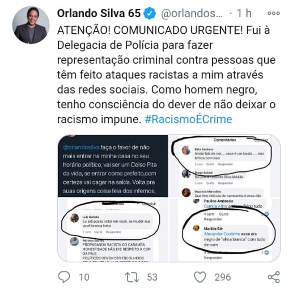 Orlando Silva registra BO por injúria racial após ataques racistas — Foto: Reprodução