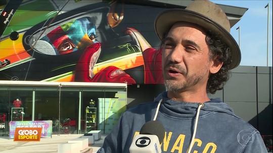 Artista plástico eterniza Ayrton Senna no circuito de Ímola, na Itália
