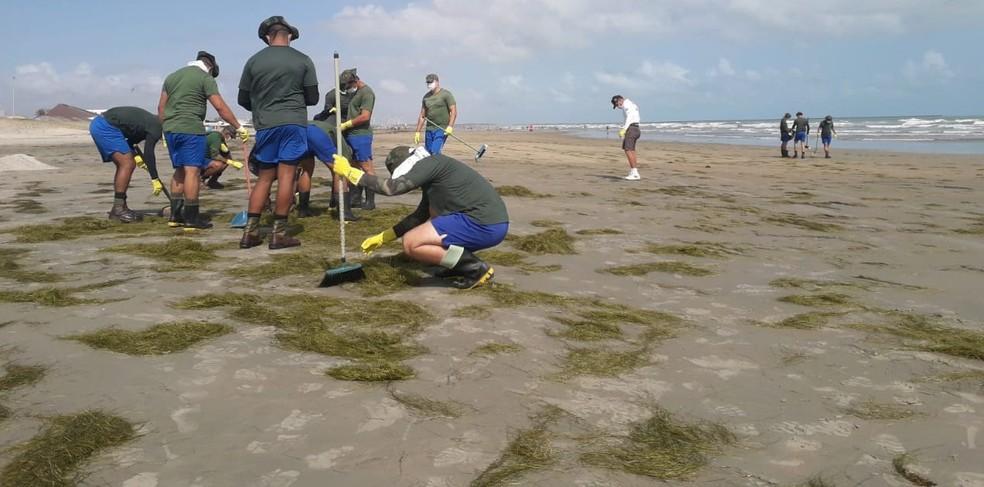Força Tarefa faz limpeza nas praias do litoral piauiense após surgimento de novas manchas — Foto: Divulgação/Marinha do Brasil