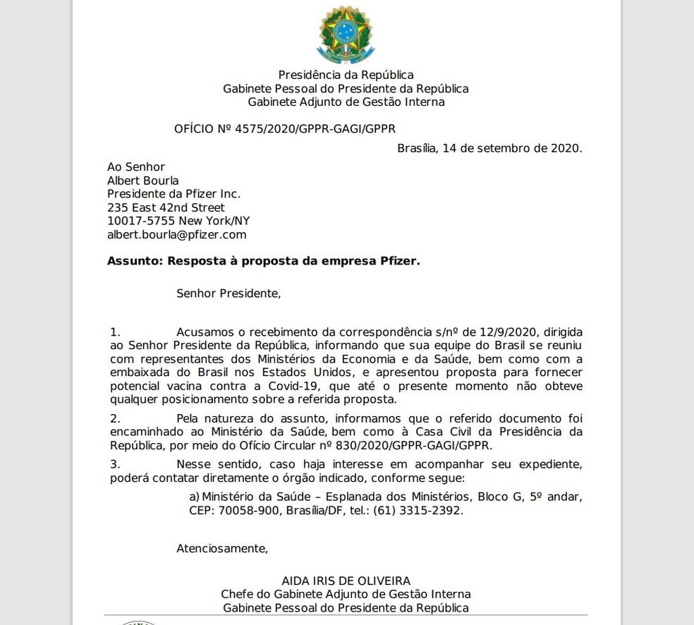 Documento da Presidência informa à Pfizer o recebimento da carta sobre vacina contra a Covid — Foto: Reprodução