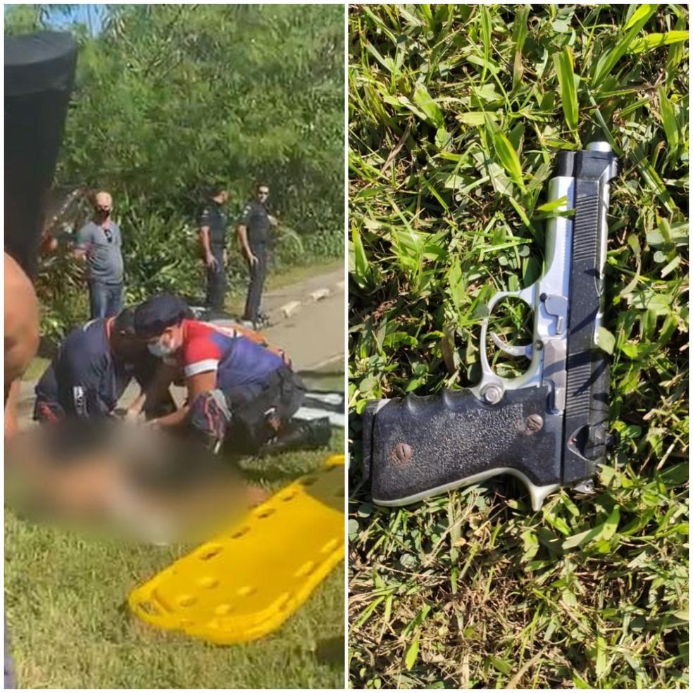 Rapaz de 18 anos estava assaltando veículo com simulacro de arma de fogo em Guarujá, SP — Foto: Reprodução/Facebook/Plantão Guarujá