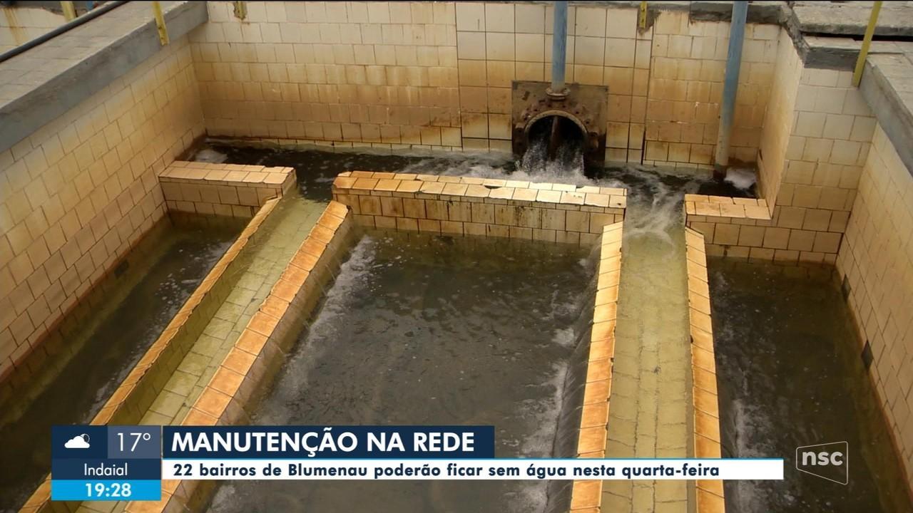 Manutenção de estação em Blumenau pode afetar abastecimento de água