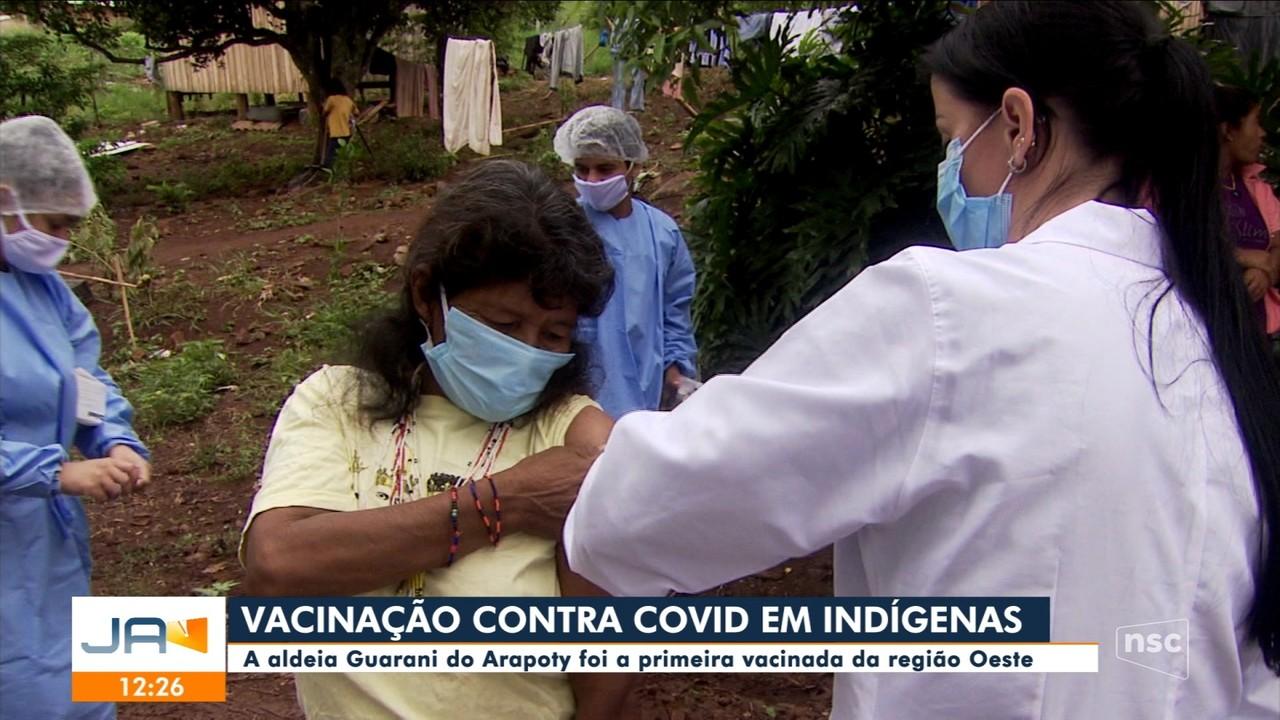 Indígenas da aldeia Guarani do Arapoty é a 1° vacinada da região Oeste de SC