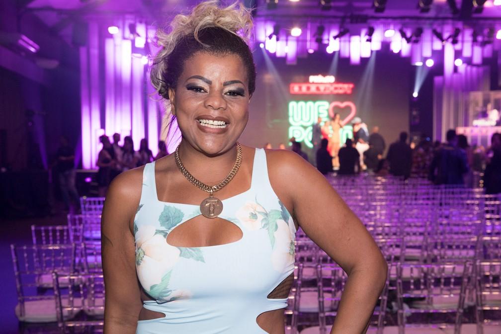 A cantora Tati Quebra Barraco, que apresentou a categoria Melhor Cena de Orgia/Gang Bang no Prêmio Sexy Hot 2018 ? Foto: Celso Tavares/G1