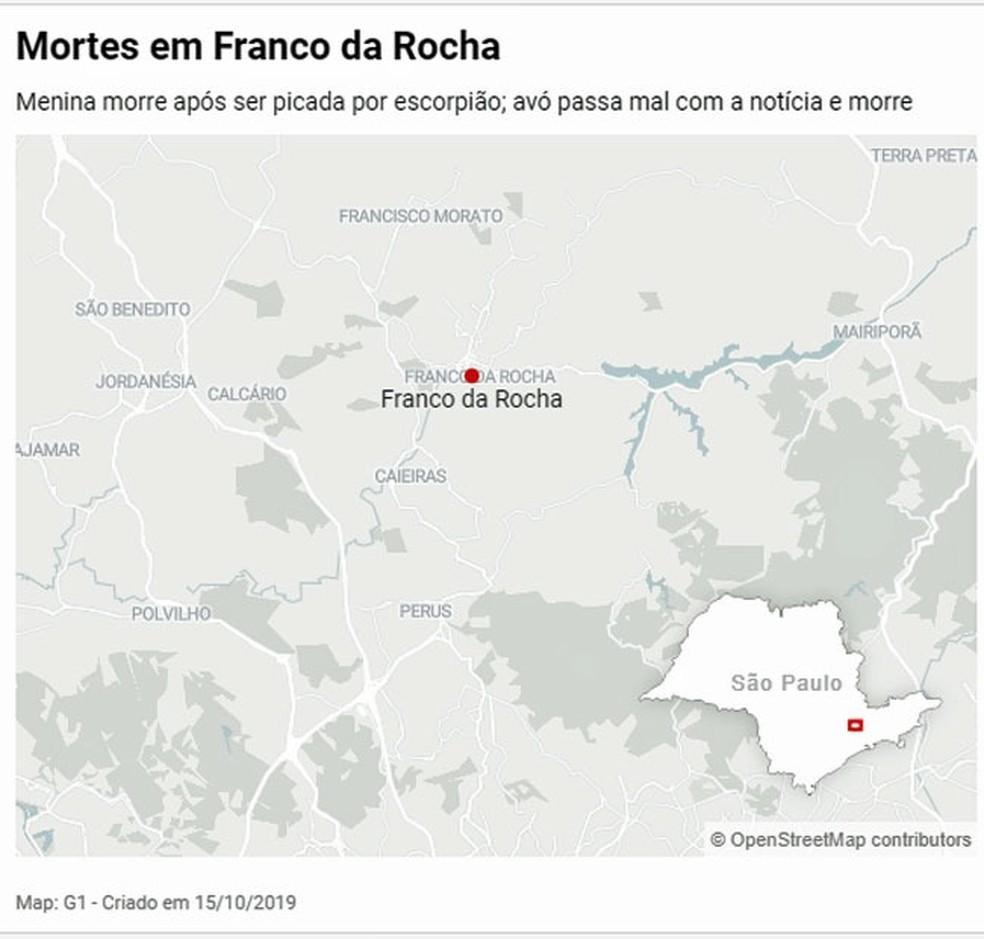 Menina morre após picada de escorpião em Franco da Rocha — Foto: G1 SP