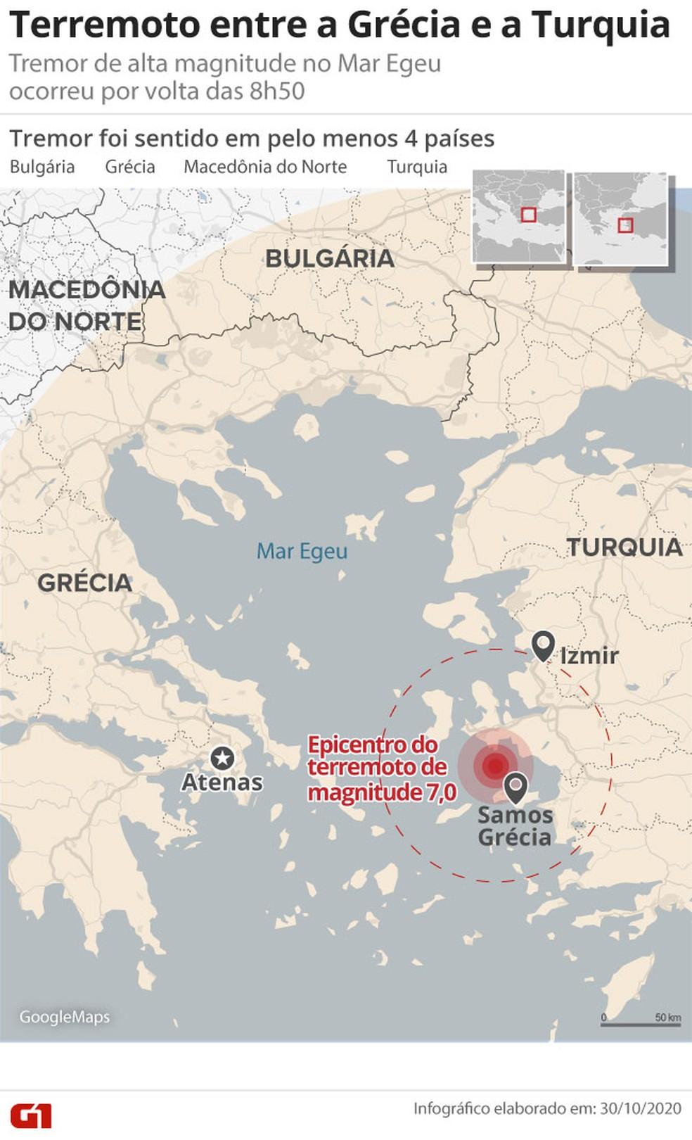 Terremoto de fortes proporções no mar Egeu é sentido na Grécia e na Turquia — Foto: Amanda Paes/G1