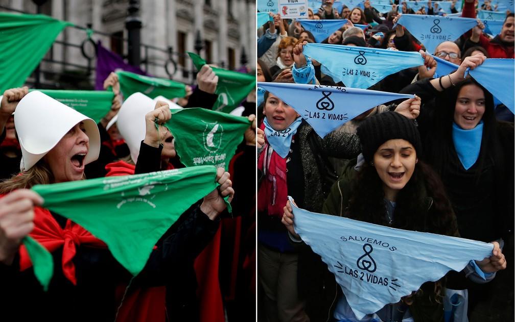 Combinação de fotos mostra manifestantes pró aborto, com lenços verdes, e contra aborto, com lenços azuis, em manifestações em Buenos Aires, na Argentina (Foto: Natacha Pisarenko/ Jorge Saenz/ AP Photo)