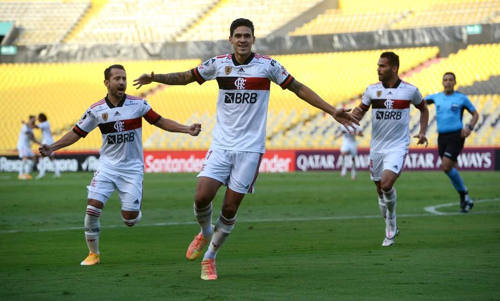 Pedro comemora gol pelo Flamengo: atacante é um dos poucos que ainda não tiveram Covid-19 no elenco — Foto: Staff Images / CONMEBOL