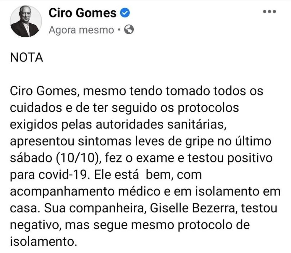 Ciro Gomes anunciou em rede social que testou positivo para Covid-19 — Foto: Reprodução