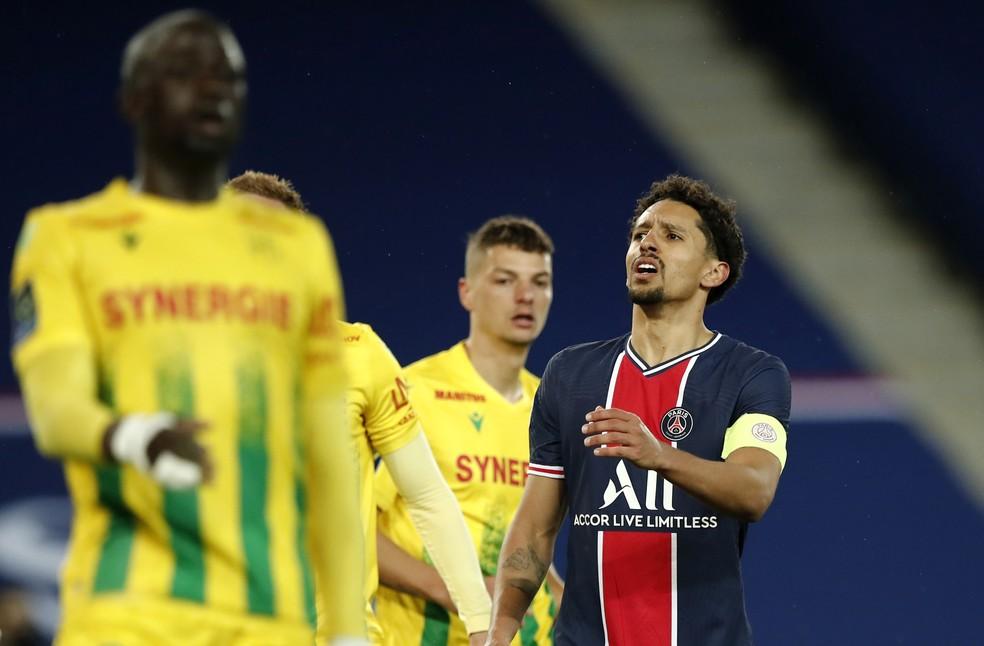 O capitão Marquinhos, durante a derrota do PSG para o Nantes — Foto: Benoit Tessier/Reuters