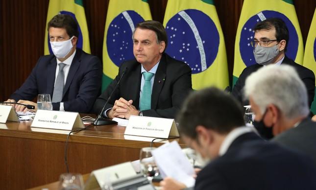 Ricardo Salles, Jair Bolsonaro e Carlos Alberto França