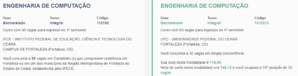 Candidato se inscreveu no Sisu em campi de Fortaleza, mas foi aprovado em curso em Aracati — Foto: Reprodução