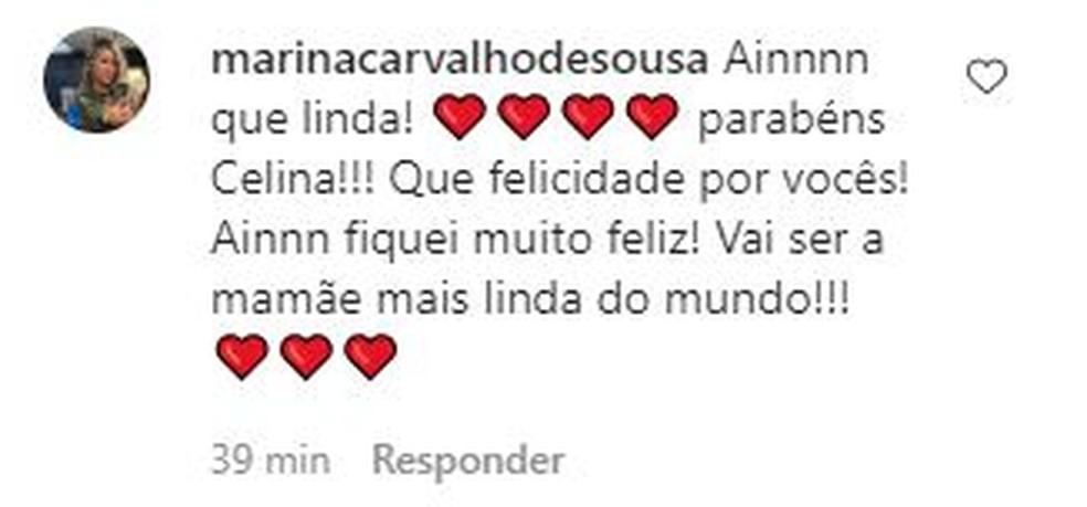 Fãs desejam felicidades e boa gestação para Celina Locks — Foto: Divulgação/Inatagram
