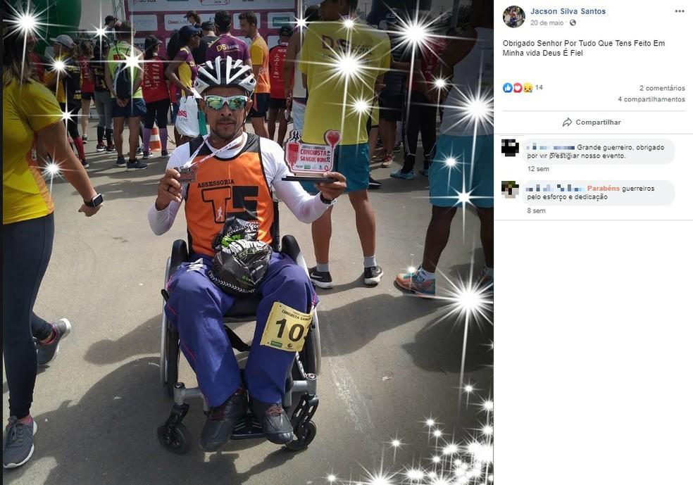 Paratleta morre atropelado por carro durante competição em Guanambi, na Bahia — Foto: Reprodução/Redes Sociais