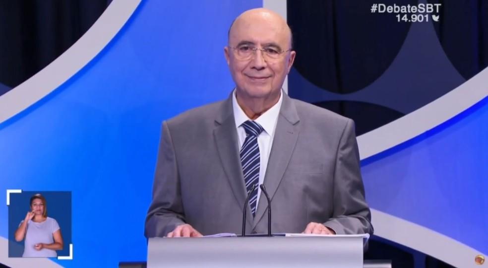 O candidato do MDB à Presidência, Henrique Meirelles, no debate do SBT — Foto: Reprodução