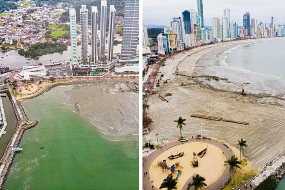 Alargamento no Molhe da Barra Sul, na Praia Grande de Balneário Camobriú — Foto: Secom/Balenário Camboriú
