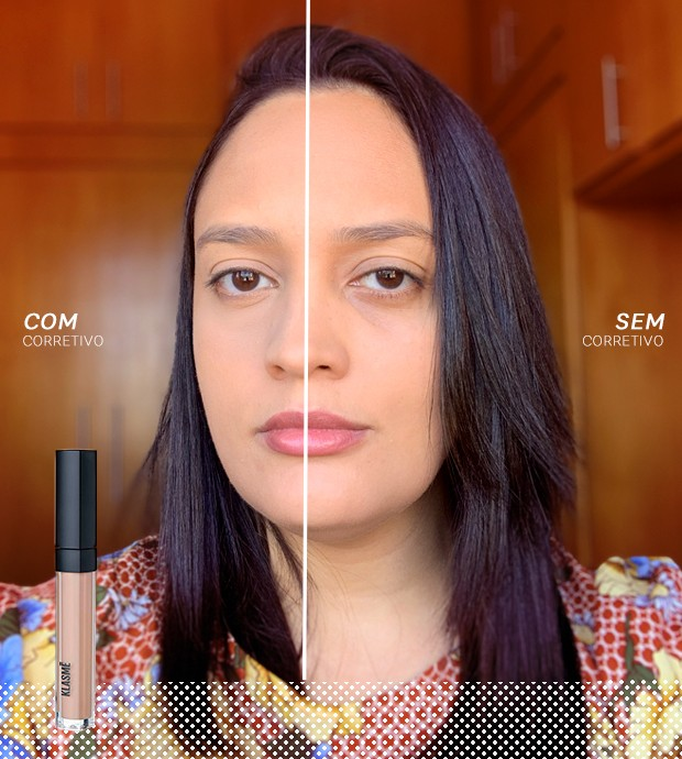 Ana Moura testa o corretivo da Klasmé (Foto: Reprodução)
