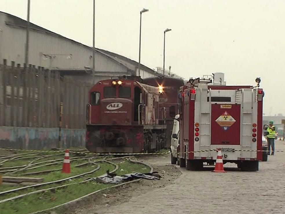 Em 2013, caminhoneiro morreu atropelado por um trem no Porto de Santos (Foto: Reprodução/TV Tribuna)