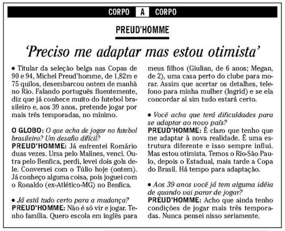 """Entrevista com o goleiro belga publicada pelo jornal """"O Globo"""" também no dia 7 — Foto: Reprodução / O Globo"""