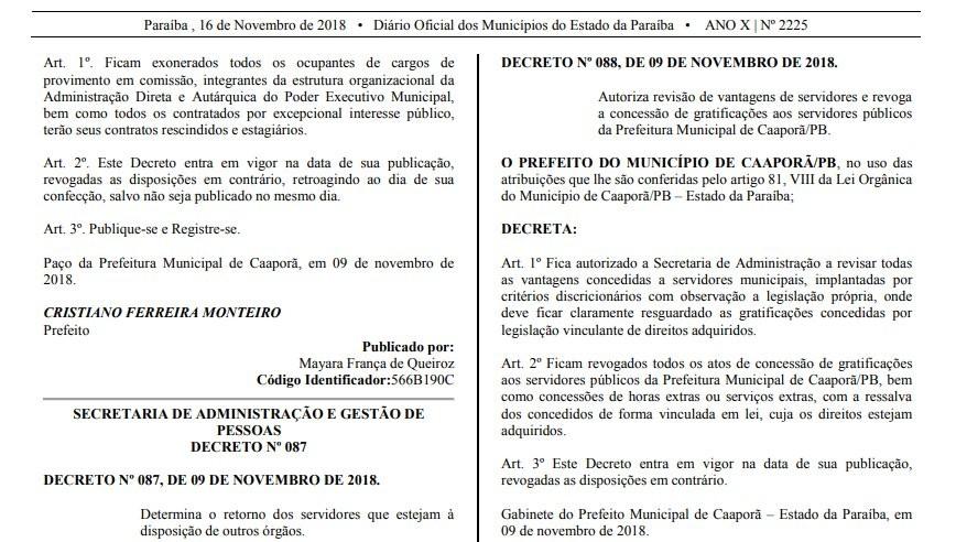 Prefeito de Caaporã, na PB, exonera todos os comissionados e prestadores de serviço