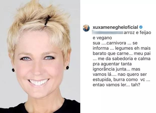 Xuxa briga com internauta por conta do veganismo (Foto: Reprodução/ Instagram)