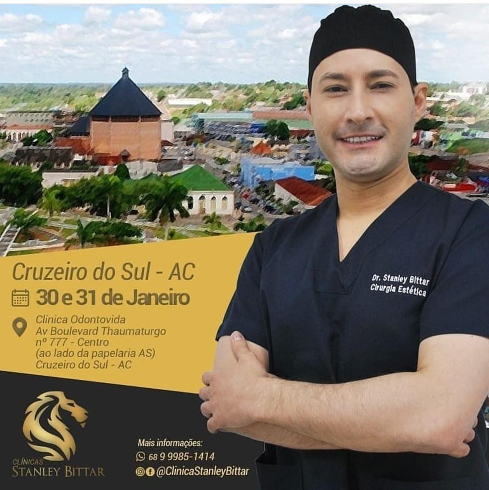 Médico se apresenta como cirurgião plástico, mesmo sem ter a especialização  — Foto: Reprodução/Instagram