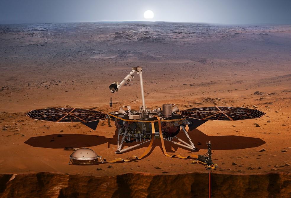Concepção artística mostra como a InSight deve estudar o interior de Marte — Foto: Divulgação/NASA