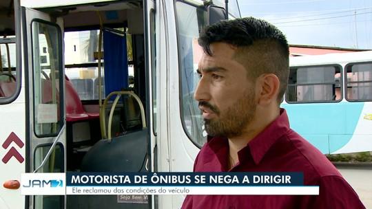 Motorista de ônibus se nega a dirigir por estado de veículo, em Manaus