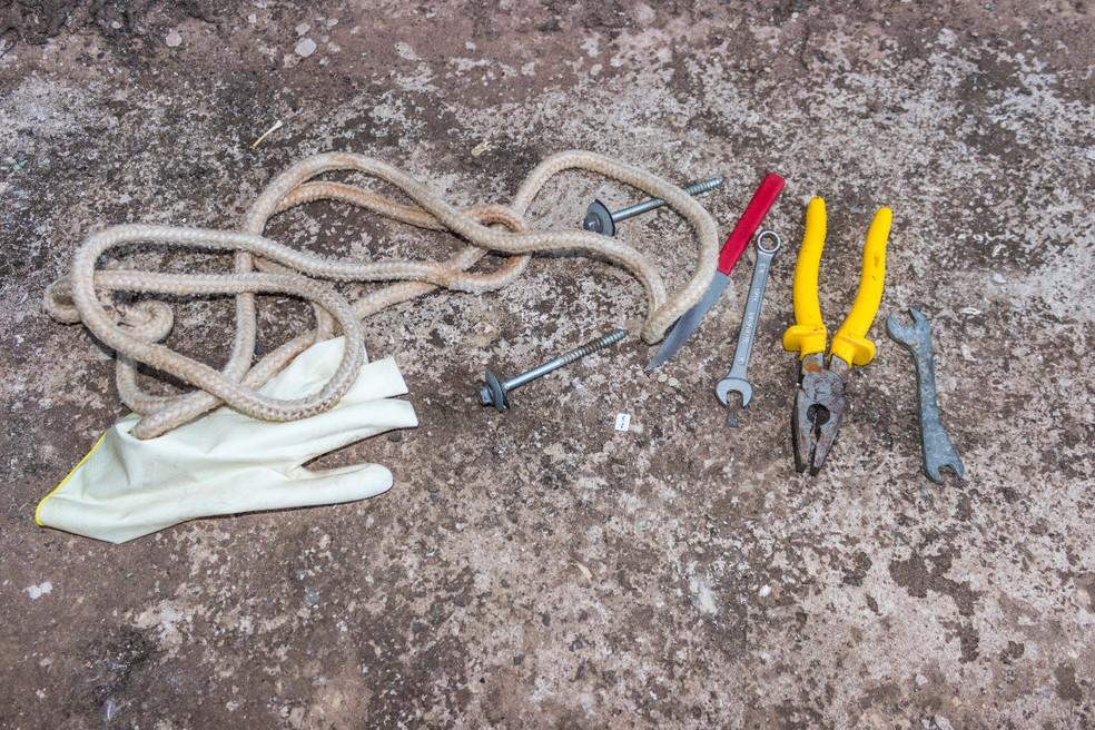 Material usado na tentativa de furto foi apreendido pela polícia (Foto: PM/Divulgação)