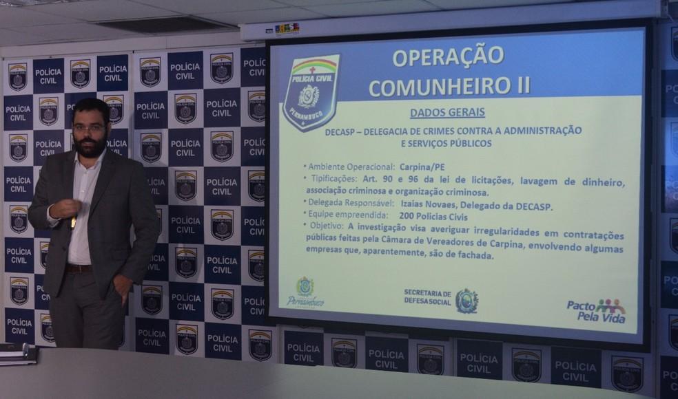 Delegado Isaias Novaes apresenta 'Operação Comunheiro II', no Recife (Foto: Divulgação/Polícia Civil)