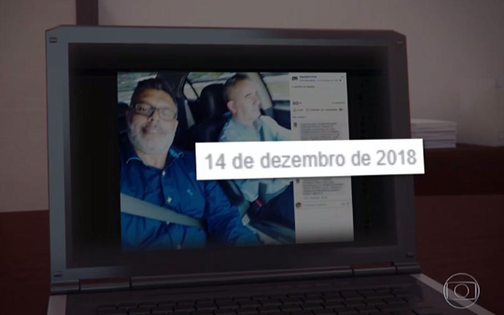 Imagem de rede social publicada em dezembro de 2018 mostra Frota e o motorista Marcelo Silva — Foto: Reprodução/TV Globo
