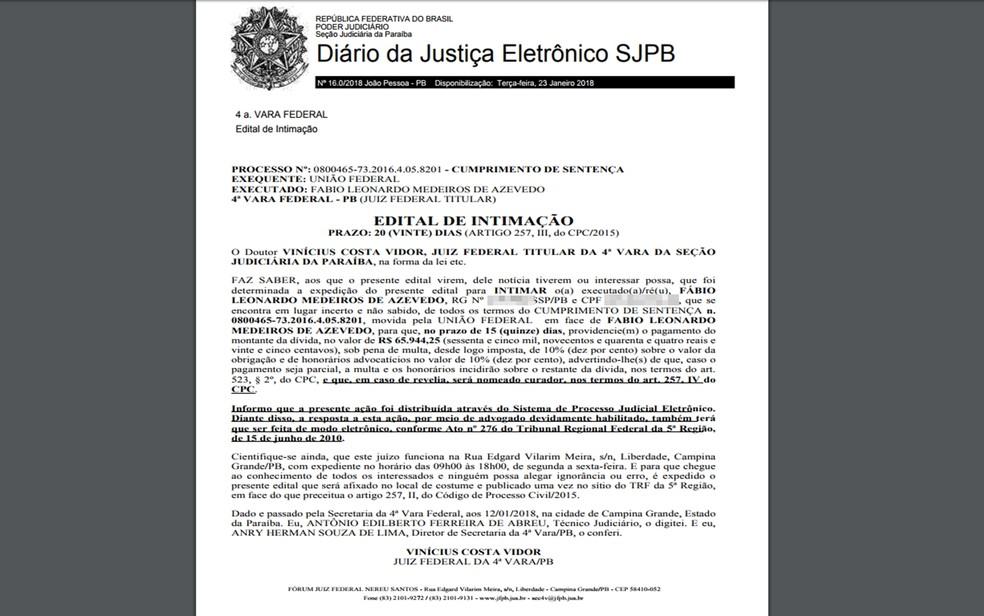 Justiça Federal deu prazo de 15 dias para Fábio Azevedo devolver dinheiro à União (Foto: Reprodução/TRF-5)