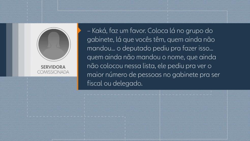 Áudio enviado por funcionário de gabinete do distrital Robério Negreiros — Foto: Reprodução