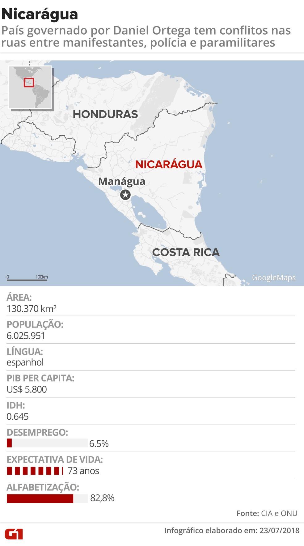 Mapa da Nicarágua (Foto: G1 )