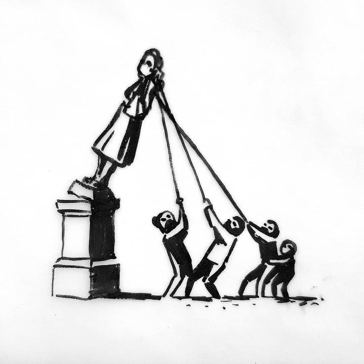 Banksy propõe nova versão de estátua de comerciante de escravos derrubada na Inglaterra | Pop & Arte
