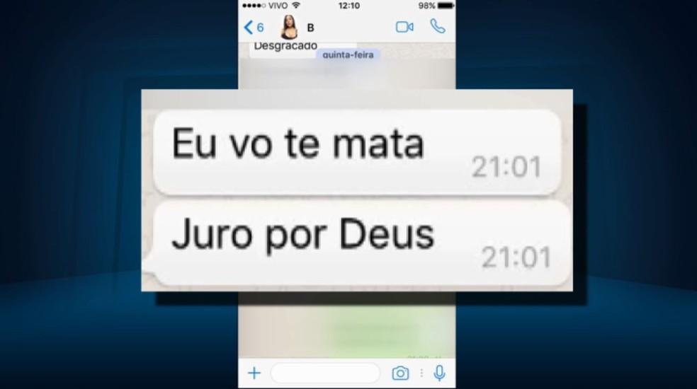 Celular do jovem morto em Pouso Alegre (MG) mostra conversas entre o casal antes do crime. (Foto: Reprodução/EPTV)