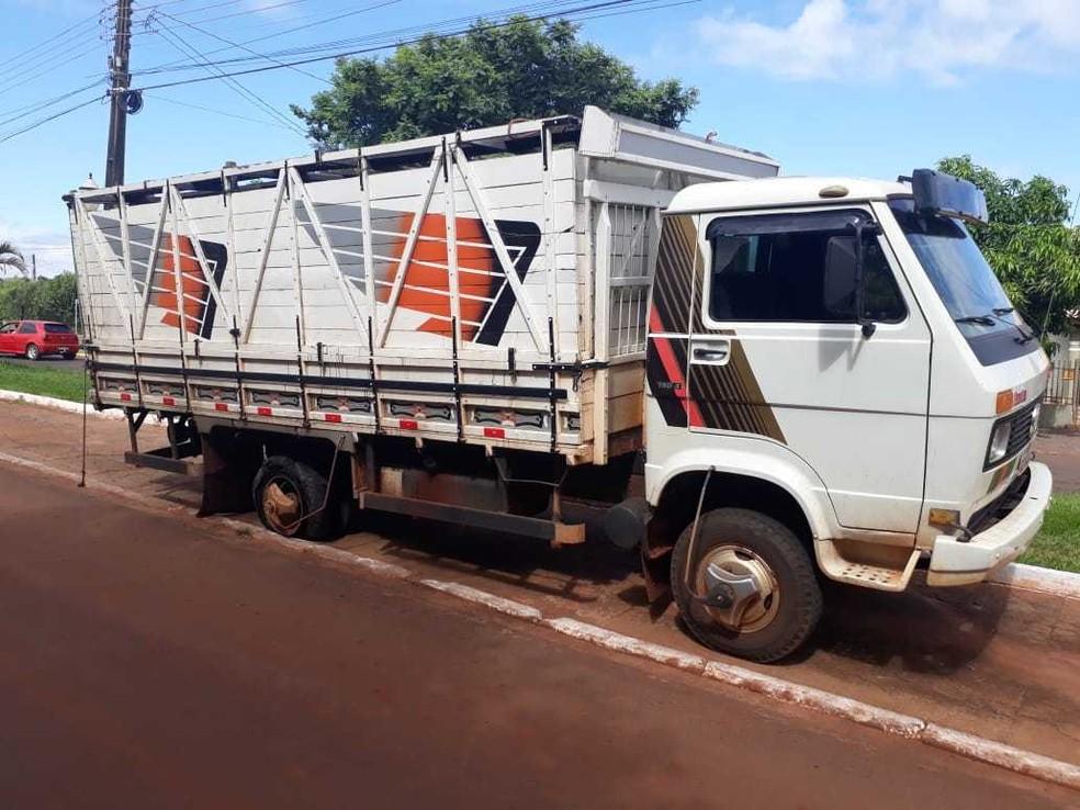 Caminhão com 13 cabeças de gado foi recuperado pela Polícia Militar (PM) em Brasilândia do Sul — Foto: Polícia Militar/Divulgação