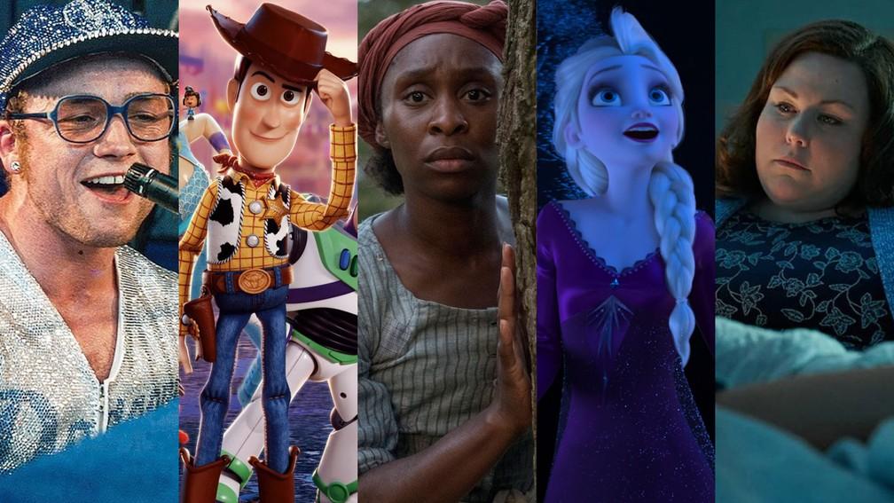 Músicas de 'Rocketman', 'Toy Story 4', 'Harriet', 'Frozen 2', e 'Superação: O Milagre da Fé' estão indicadas ao Oscar de Melhor Canção Original — Foto: Divulgação