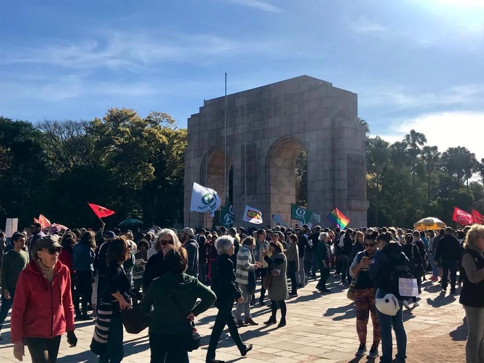Manifestantes levaram bandeiras e cartazes a protesto em defesa da Amazônia em Porto Alegre — Foto: Kelly Veronez/RBS TV