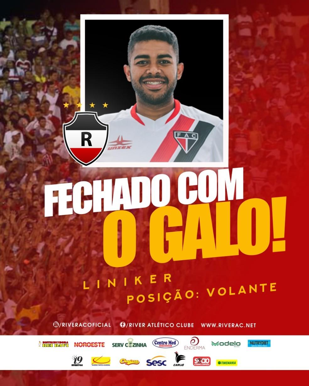 Liniker é anunciado como reforço do River-PI — Foto: Divulgação/River AC