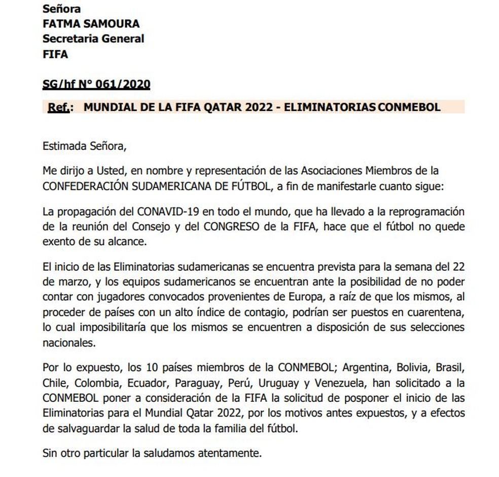Em carta Conmebol pede adiamento das rodadas iniciais das Eliminatórias de 2022 — Foto: Conmebol
