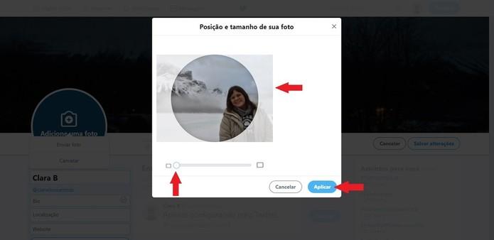 Ao arrastar a bolinha para a direita, a foto será expandida, diferente da edição da foto de capa (Foto: Reprodução/Clara Barreto)