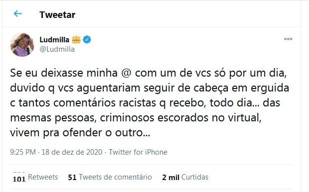 Tweet de Ludmilla (Foto: Reprodução/Twitter)
