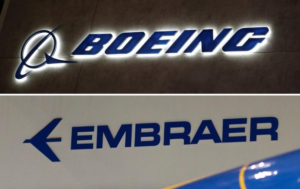 Combinação de fotos com as marcas da Boeing e da Embraer. As marcas anunciaram nesta quinta (5/7) a criação de uma associação avaliada em US$ 4,75 bilhões  — Foto: Denis Balibouse/Reuters; Roosevelt Cassio/Reuters