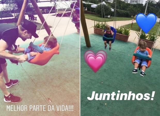Michel Teló e os filhos, Melinda e Teodoro (Foto: Reprodução / Instagram)