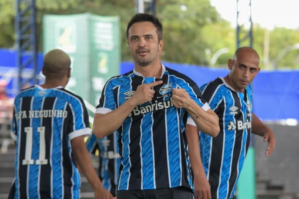 Falcão comemora gol pelo Grêmio — Foto: Luciano Maciel/Grêmio Futebol 7