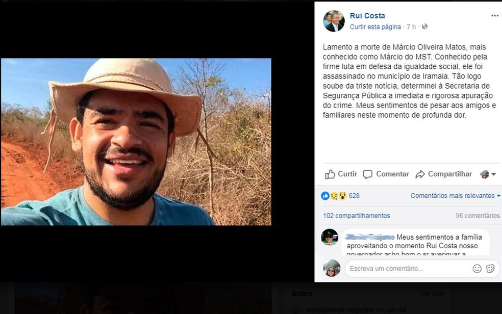 Márcio Matos Oliveira foi morto na cidade de Iramaia (Foto: Reprodução/Facebook)