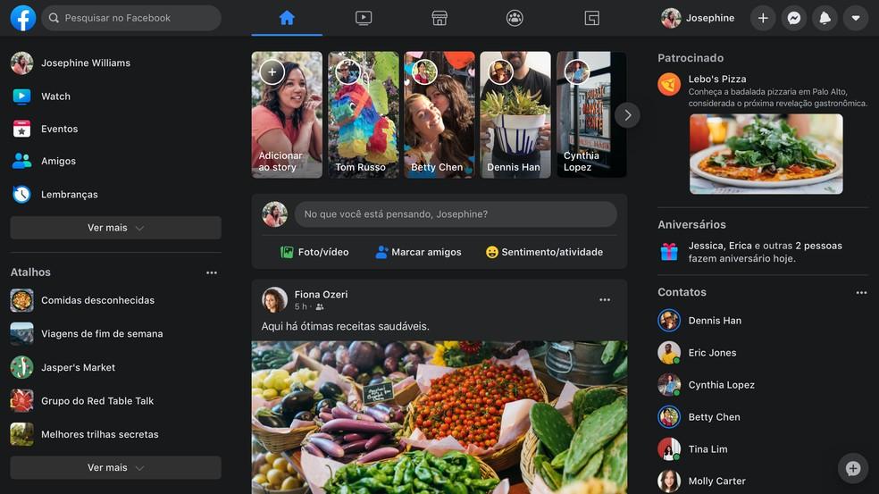 Novo design do Facebook, com modo noturno, está disponível para todos os usuários — Foto: Divulgação